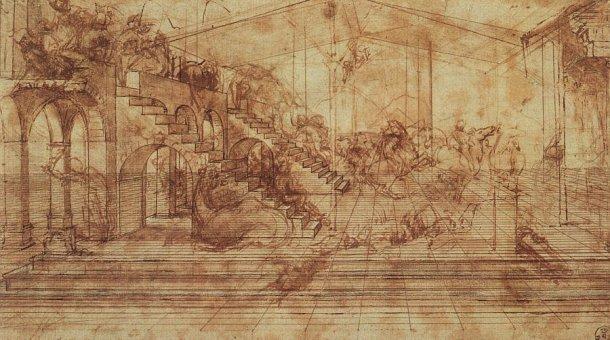 Leonardo Da Vinci, Perspective Study