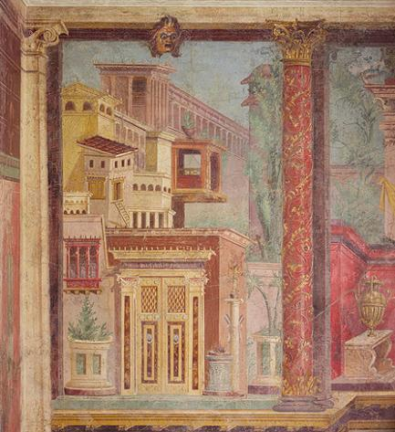 Fresco from the Villa of Publius Fannius Synistor, second-style wall painting, preserved by ash in 79 AD