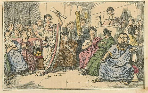 """Cicero denouncing Cataline,"" The Comic History of Rome by Gilbert Abbott A Beckett, 1850s."