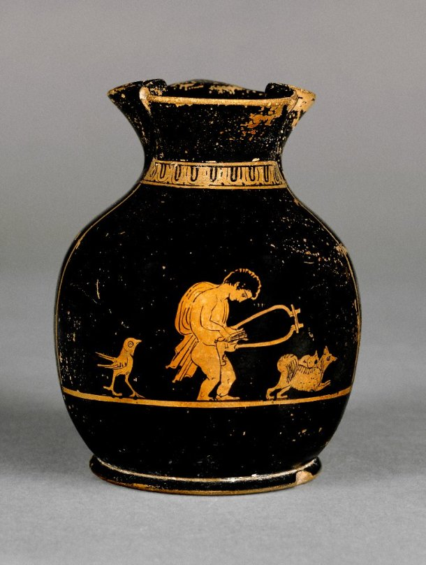 Chous, Boy with an instrument, a bird and a Melitan dog, Fikellura Cemetery (in Greece) ca. 420BC-400BC (Source)