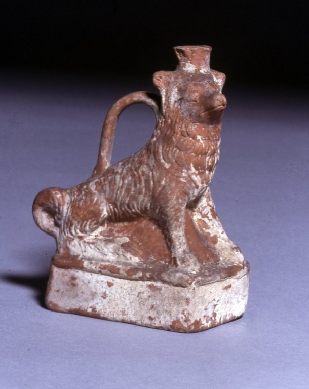 Askos in the form of a seated dog, from Knidos, Turkey, ca. 1st - 2nd century AD, now held by the British Museum.