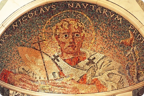 """Sanctus Nicholaus, Nautarum Protector"" (Saint Nicholas, Protector of Sailors) Mosaic of St Nicholas in Westminster Cathedral in London. Photo by Fr Lawrence Lew http://gcaptain.com/maritime-monday-dec-twentyfourth-twentytelve-christmas/"