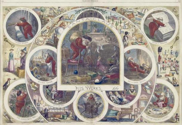 """Thomas Nast, """"Santa Claus and His Works,"""" Wood engraving, 1866"""