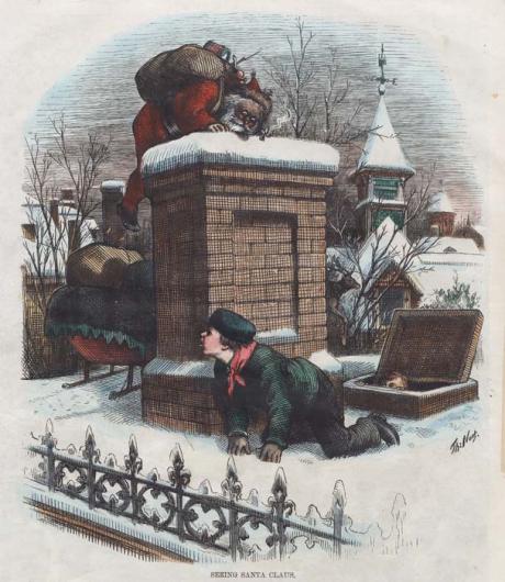 """Seeing Santa Claus."" Thomas Nast, 1876."