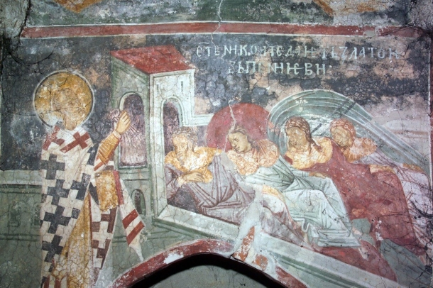 Nicholas saves the three daughters, Monastery Decani, ca. 1350 (Source) http://full-of-grace-and-truth.blogspot.com.au/2008/12/life-of-st-nicholas-archbishop-of-myra.html