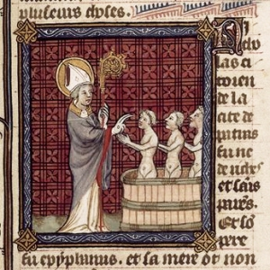 France (Paris), 1382, currently in British Library, Royal MS 19 B. xvii, f. 14r.