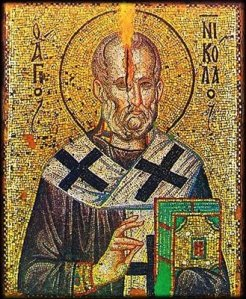 "Icon of St. Nicholas ""O Streidas"" (of the Oyster), Monastery of Stavronikita (Source) http://full-of-grace-and-truth.blogspot.com.au/2008/12/miraculous-icon-of-st-nicholas-o.html"