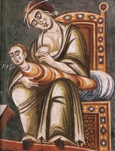 Late 11th century fresco, Novalesa Abbey, Piedmont, Italy (Source)http://disasterpiecetheatre.tumblr.com/post/52250248992/anonymous-detail-from-st-nicholas-refusing-his