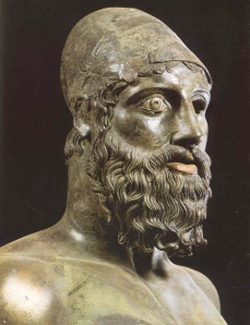 Riace Bronze B, speculatively suggested to be a depiction of Amphiaraus (source) http://www.thehistoryblog.com/archives/date/2012/08/15