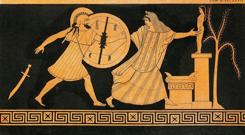 Menelaus pursues Helen of Troy before the altar of Apollo. (Source) http://online.wsj.com/news/articles/SB10001424052970204422404576597201215250720
