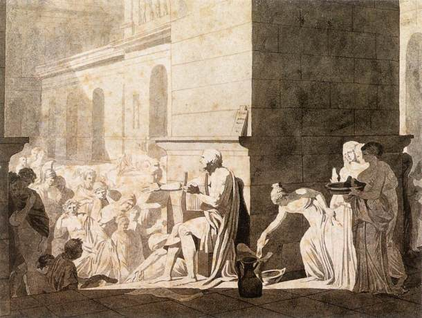 Jacques-Louis David,  Homer Reciting his Verses to the Greeks. chalk, pen, ink and wash, 1794. (Source) http://commons.wikimedia.org/wiki/File:Jacques-Louis_David_-_Homer_Reciting_his_Verses_to_the_Greeks_-_WGA06120.jpg
