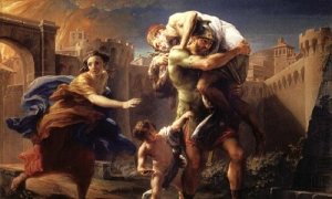 Pompeo Batoni, Aeneas Fleeing from Troy, ca. 1750 (source)