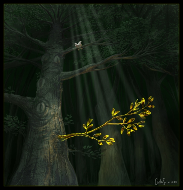 The golden bough, ticket to the underworld in Aeneid VI. I painted this in my Year 12 - check it out at my deviantArt gallery